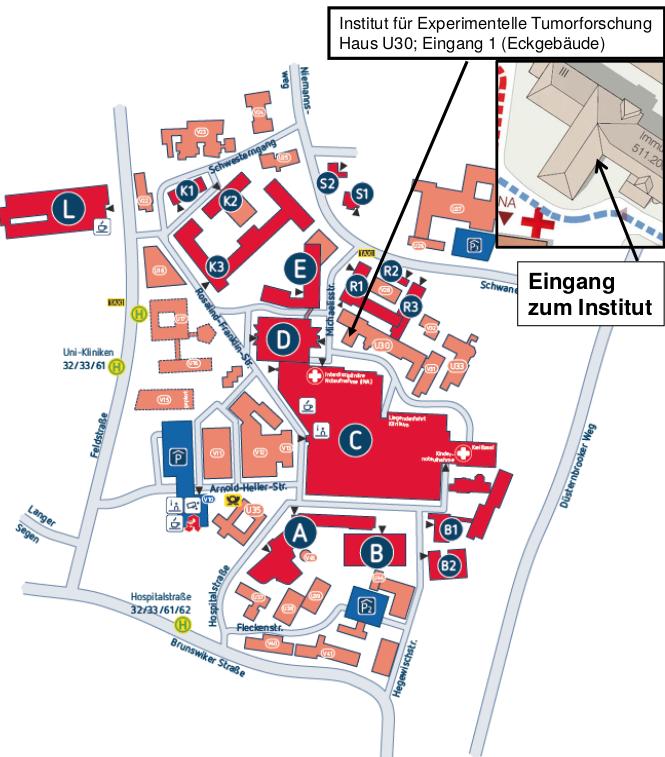 Anfahrt und Lageplan Universitätsklinikum Schleswig-Holstein Campus Kiel
